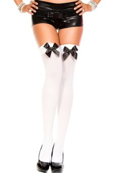 Bluelans Women's Stretch Lace Bow Thigh High Over The Knee Sexy Socks White + Black Bowknot (Intl)