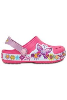 Giày sục bé gái Crocs Crocband Butterfly Clog K Candy Pink 202664-6X0 (Hồng)
