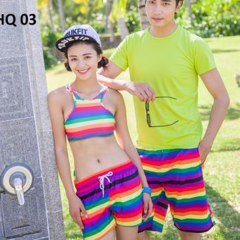 Bộ đồ đôi đi biển Family Shop 1 bộ bikini - 1 quần đùi nữ Family Shop - 1 quần đùi Nam HQ 03