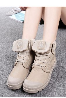 LALANG Women PU Martin Boots High Cut Tube Down Shoes Khaki - intl