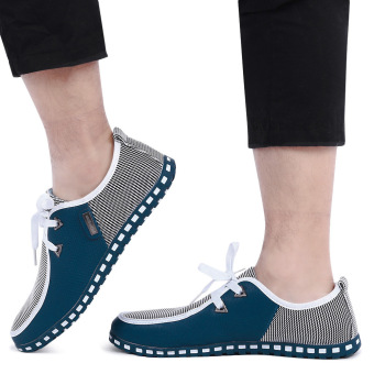 Casual Patchwork Design Lace Up Male Breathable Flat Shoes(Green) - intl