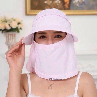 Mũ(nón) tránh nắng kèm khẩu trang 0502-hồng nhạt