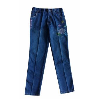 quần jeans dài bé gái thêu hoa 10 đến 15 tuổi Tri Lan QDBG009 (Xanh)