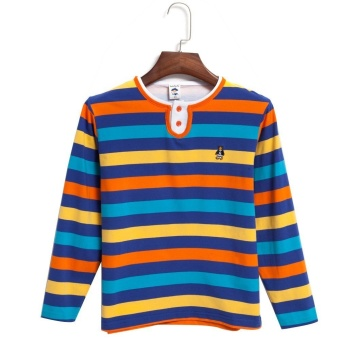 Round Collar Long Sleeve Stripe Pattern Boys T-Shirt (Orange) - Intl - intl