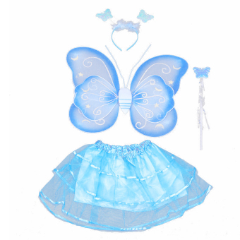 4 PCS/Set Cute Butterfly Style Children Kids Wing Wand Headband Dresses Girl Fairy Stage Costume for Halloween Cosplay School Show Party Blue