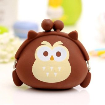 Women Owl Silicone Jelly Wallet Change Bag Key Pouch Coin Purse Brown - intl