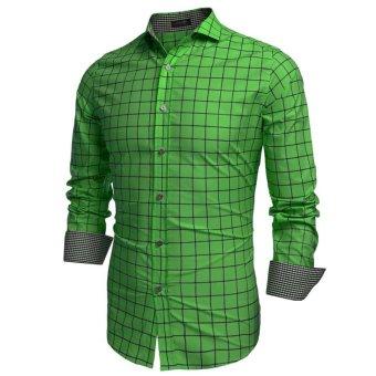 Linemart COOFANDY Men Fashion Turn Down Collar Long Sleeve Plaid Cotton Button Down Casual Shirts ( Green ) - intl