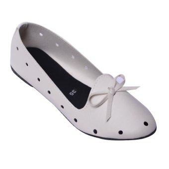 Giày búp bê nơ MeGirl 92181 (Trắng)