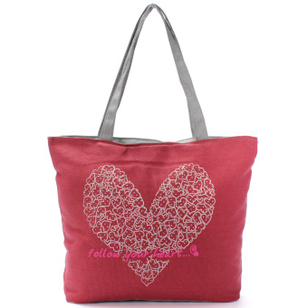 Teamwin Printing Canvas Bags Women Handbag Fashion Shoulder Shopping bag Totes Red - Intl