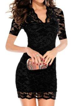 Cyber Women's Sexy V-neck Short Sleeve Lace Bodycon Stretch Casual Mini Dress (Black) - Intl