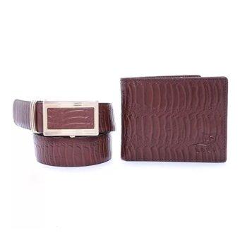 Bộ ví và thắt lưng da bò Laka màu Nâu dập vân đà điểu cao cấp LKCB05