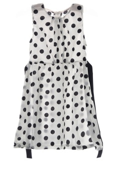 LALANG Children Girls Polka Dot Chiffion Bowknot Belt Sundress Dresses 140cm White - Intl