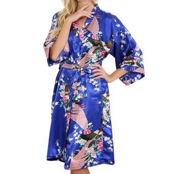 Moonar Sexy Women Silk Print Kimono Gown Half Sleeve Sleepwear Cardigan Bath Robe ( Royal Blue ) - intl