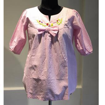 Áo kiểu caro hồng Somy Kids