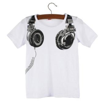 Boy Kids Summer Casual Headphone Short Sleeve Tops Blouses T Shirt - intl