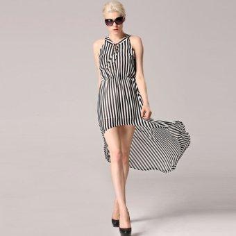 Cyber Angvns Women V-Neck Sleeveless Striped Irregular Hem Casual Chiffon Tunic Long Dress (Black,White) - Intl