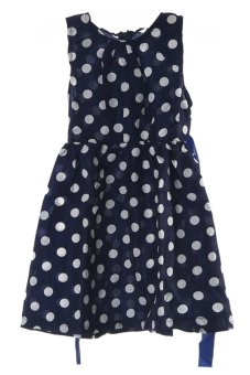 LALANG Children Girls Polka Dot Bowknot Belt Dresses Blue - Intl