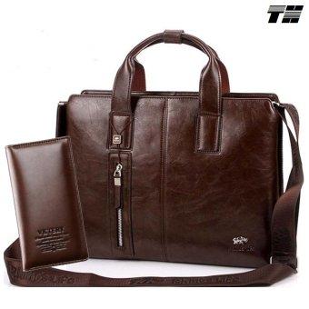 Bộ cặp xách da và ví cầm tay công sở phong cách THCB07
