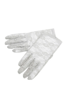 Fancyqube Women Lace Gloves Wedding Ritual Performances Gloves Grey