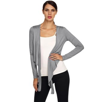Sunweb New Stylish Ladies Women Casual Long Sleeve Solid Tie Front Cropped Shrug Top Cardigan ( Gray ) - intl