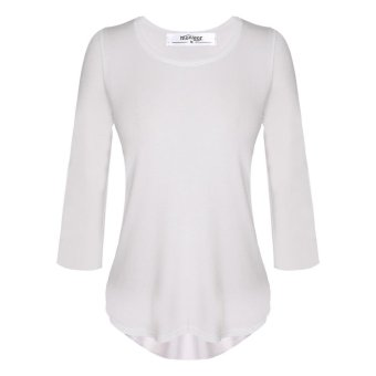 Linemart Meaneor Stylish Women Casual Round Neck 3/4 Sleeve Unbalance T-Shirt Tops ( White ) - intl
