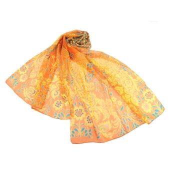 Fashion Women Chiffon Scarf Peacock Olives Print Long Shawl Wrap Casual Neckerchief - intl