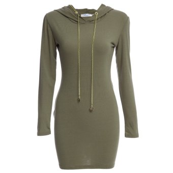Women Skinny Dress Casual Hooded Chain Design (Army Green) - intl
