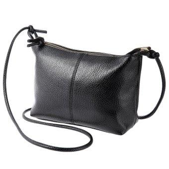 Fashion Ladies Retro Solid Color Zipper Multi Functional Shoulder Cross Body Bag(Black) - Intl
