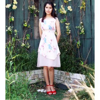 Đầm voan hoa văn hồng Cocoxi 18DT04