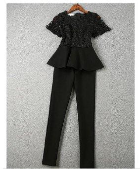 Bộ quần dài và áo peplum phối ren Mozy MZD137 (Đen)