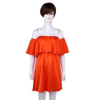 Off-shoulderShort Sleeve Dress(Orange) - intl