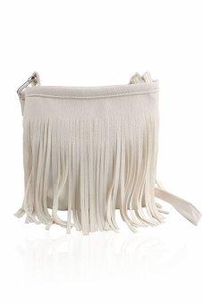 HKS Hot Tassel Shoulder Handbag Women (White) - intl