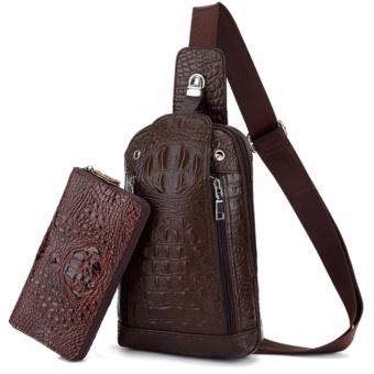 Bộ túi xách và ví tiền vân da cá sấu cao cấp (Nâu)