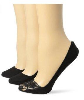 Bộ 3 đôi tất (vớ) lót chân đen nữ Ellen Tracy Women's 3 Pack Lace Toe Basic Footliners (Mỹ)
