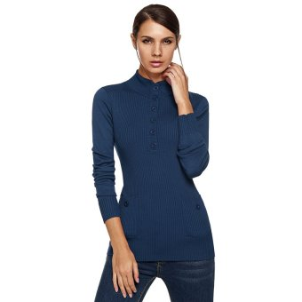 Cyber ANGVNS Stylish Women's Stand Collar Long Sleeve Button Ribbed Slim Knitting Coat Top Sweater ( Blue ) - Intl