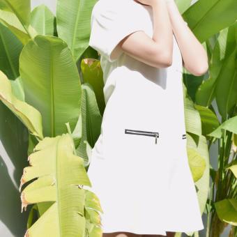 Đầm baby doll trắng hạ eo