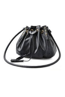 PU Leather Korean Style Shoulder Bag Handbag (Black) - Intl