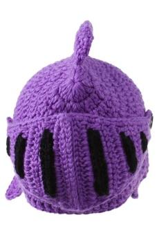 LALANG Hand-Knit Beanie Roman Knight Masks Cap (Violet)