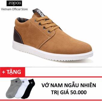 Giày Sneaker Da Lộn Zapas GS040 (Nâu Vàng) + Tặng Vớ Nam