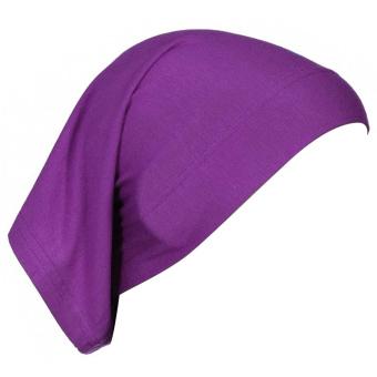 Women Muslim Mercerized Cotton Soft Adjustable Head Wrap Cover Inner Hijab Bonnet Cap Hat Purple (Intl)