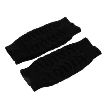 OH Fashion Unisex Men Women Knitted Fingerless Winter Gloves Soft Warm Mitten Black - Intl