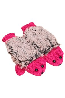 Bluelans Woman Erinaceus Hedgehog Outdoor Gloves Cartoon Cotton Plush Gloves Rose-Red (Intl)