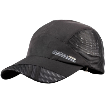 Unisex Summer Outdoor Sport Breathable Quick Dry Baseball Caps Solid Adjustable Sun Visor Hat Black - intl