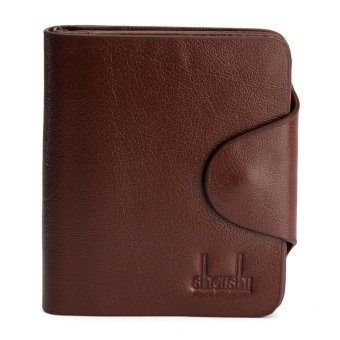 Men Boy Cowhide Short Wallet Folding Purse Trifold Notecase Card Holder Vintage Light Coffee Vertical section - intl