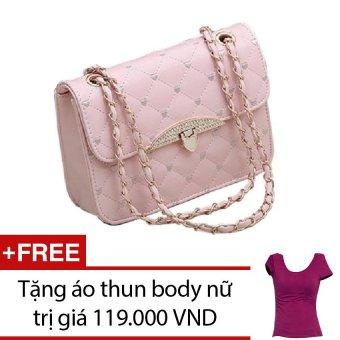 Túi xách nữ đính đá họa tiêt trái tim TTGG (Hồng) + Tặng 1 áo thun body nữ