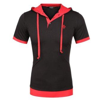 Cyber COOFANDY Men Fashion Casual Slim Short Sleeve Patchwork Hooded Polo Shirt (Black) - Intl