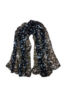 Musical Note Chiffon Neck Muffler (Black)