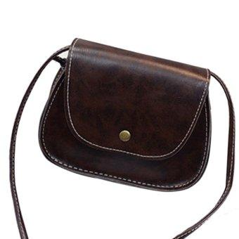 Hot Retro Women Messenger Bags Chain Shoulder Bag Leather Crossbody Dark Brown