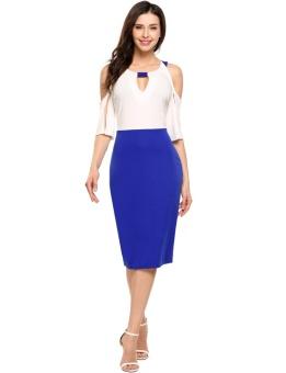 Cyber Women Casual Spilit Sleeve Patchwork V Neck Cold Shoulder Pencil Dress ( Blue ) - intl