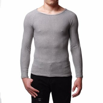 Men's Long Sleeved Tops PolyesterFfiber Soft and Comfortable Ride Wearing Slim Shirt (Grey) - intl